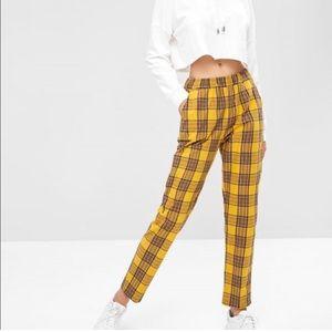 Zaful Mustard Yellow Blue Plaid Tartan Pants Size Medium